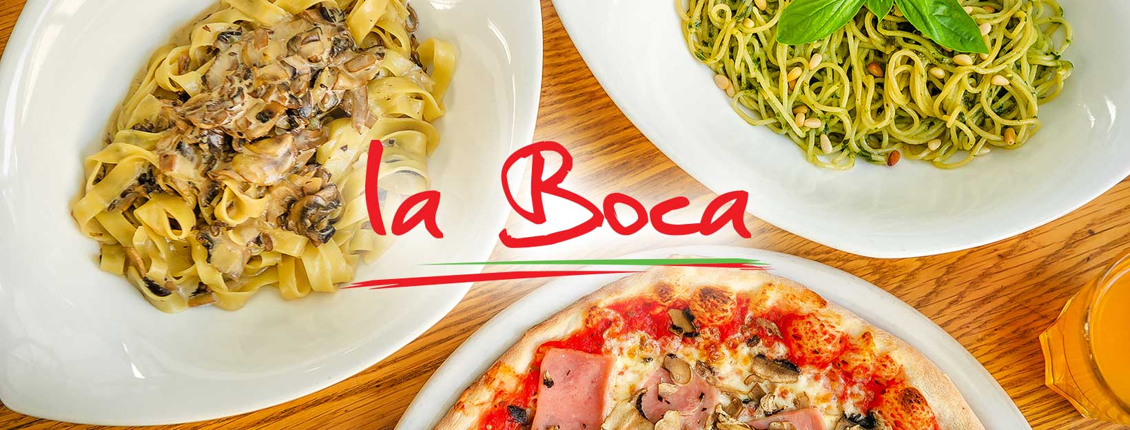 A photo of a variety of pasta and pizza available from La Boca